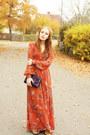 Burnt-orange-h-m-dress-deep-purple-envelope-glitter-purse