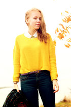 yellow knitted H&M sweater - blue H&M jeans - forest green plaid frk jacket