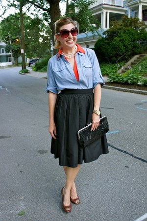black St John skirt - salmon Urban Outfitters dress - sky blue Forever 21 shirt
