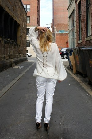 ivory Gap jeans - ivory MIKKAT MARKET shirt - Kenneth Cole heels