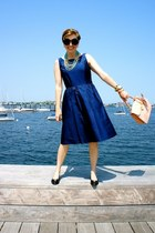 blue ann taylor dress - light pink brahmin bag