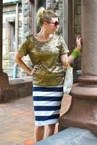 navy H&M skirt - bronze H&M top - nude coach sandals