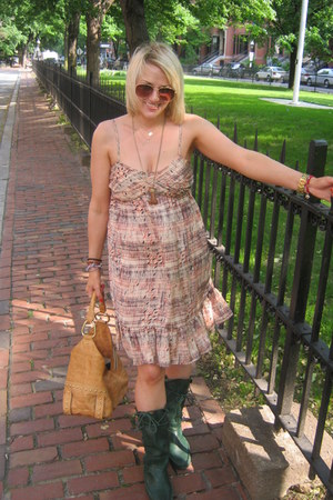 leather Frye boots - silk Urban Outfitters dress - leather Kenneth Cole bag