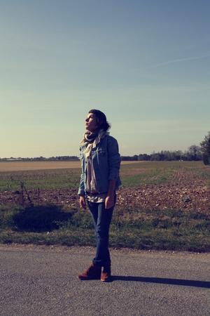 Levis jacket - shoes - scarf - Zara shirt