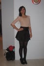 Black-valleygirl-skirt-pink-bardot-top-black-innui-shoes-gold