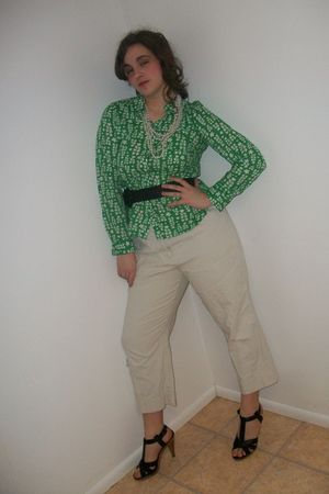 green blouse - beige pants - black shoes - black belt - white necklace