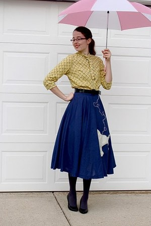 navy homemade skirt - mustard homemade blouse - black Connie heels