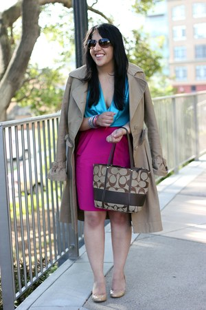 magenta pencil banana republic skirt - tan trench Viktor &amp; Rolf and H&amp;M coat