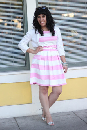 bubble gum striped Forever 21 dress - white cropped Jeanne Pierre cardigan