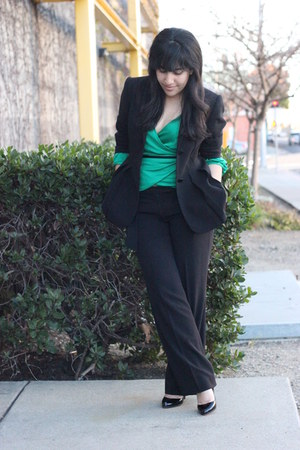 black calvin klein suit - black Christian Louboutin heels