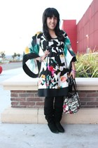 black H&M leggings - Diane Von Furstenburg dress - coach bag