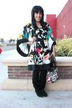 black H&M leggings - Diane Von Furstenburg dress - coach bag