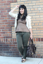 cream bomber Forever 21 jacket - dark brown hobo Vince Camuto bag