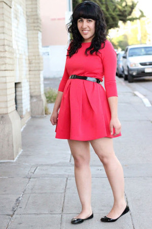 black patent Steve Madden shoes - red pleated skater Boohoo dress