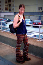 blue Holister shirt - red Onceovertwice etsy store pants - black Chanel purse -