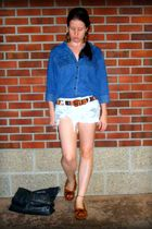 blue thrifted shirt - white Siwy shorts - brown Minnetonka shoes - brown vintage