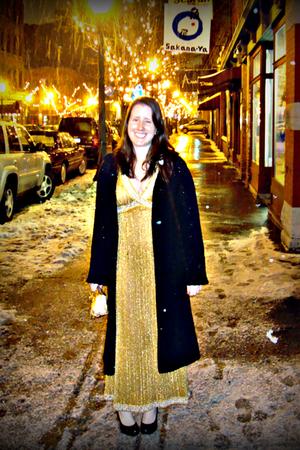 gold vintage dress - black J Crew sweater - black Target shoes - gold Eryn Brini