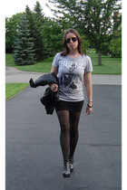 Hellz Bellz t-shirt - forever 21 skirt - Drugstore tights - Colin Stuart shoes -