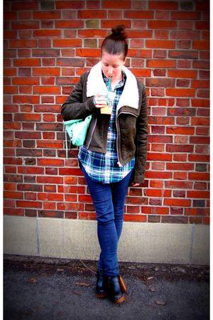 brown Forever 21 jacket - green thrift shirt - black CurrentElliott jeans - blac