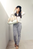 lace Zara sweater - pattern Gap pants - strap ricci no heels