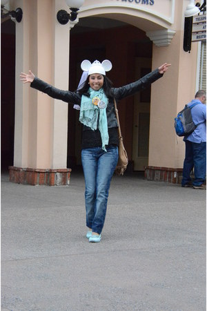 blue jeans - white hat - black leather jacket jacket - aquamarine scarf