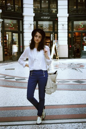 white Zara blouse - navy button up pull&bear pants - ivory Bertie loafers