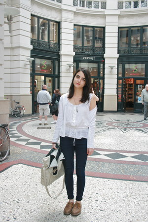 white Zara top - brown vintage Dr Martens flats