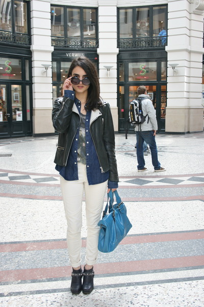 navy studded Jeffrey Campbell boots - navy denim COS jacket - white H&M pants
