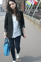 H&M blazer - Zara blouse - Bertie shoes - Bershka jeans - online buy purse