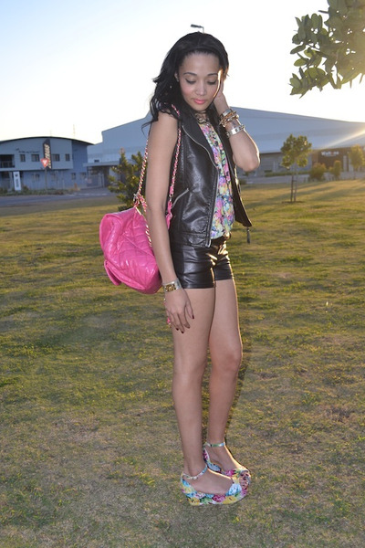 leather vest H&M vest - floral H&M top - H&M necklace