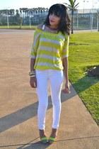 Woolworths jeans - yellow stripe neon Mango sweater