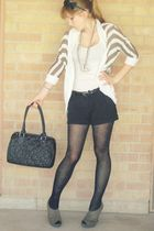 black tights - green Dollhouse shoes - black Nine West purse