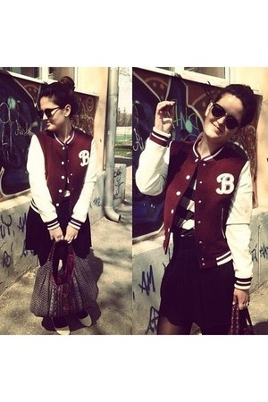 varsity jacket H&M jacket - floral Accessorize bag