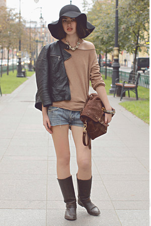 dark brown Zara boots - dark gray H&M hat - dark gray silver Zara jacket