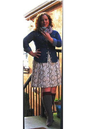 maroon mohair garage socks - winners boots - H&M dress - H&M shirt