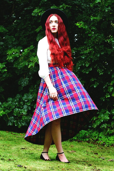 tartan Alices Pig skirt - fedora Acessorize hat - basic Primark blouse