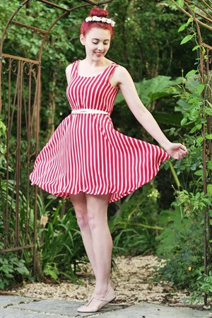 candy stripe yumi dress - headband Crown &amp; Glory accessories - t-bar asos flats
