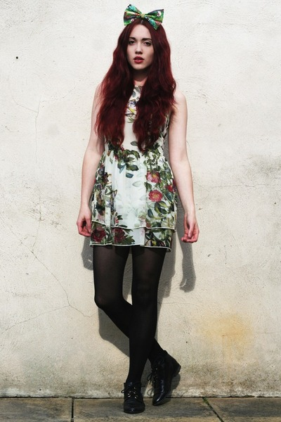 Topshop boots - floral print dress - bambi bow accessories