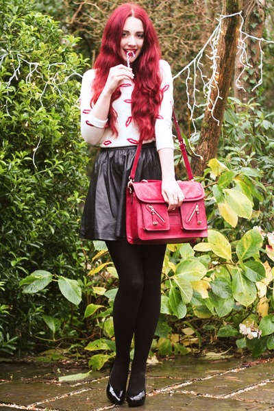 faux leather H&M skirt - satchel DSUK bag - lip embroidered romwe jumper