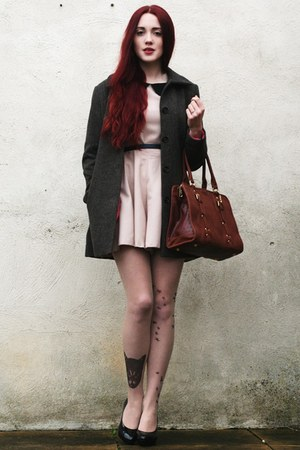 leather bag - tweed H&M coat - AX Paris romper - tattoo stockings