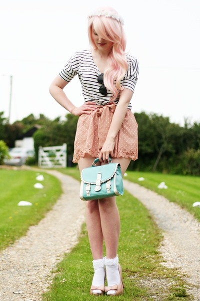 scallop detail bag - striped shirt - polka dot shorts - lace detail socks