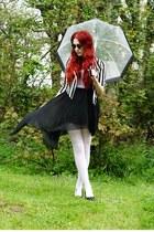 asymmetrical dress - striped jacket - round sunglasses - black wedges
