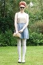 Chiffon-skirt-dress-woven-bag-heart-shaped-sunglasses