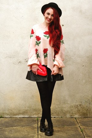 rose wildfox couture sweater - black Dr Martens shoes - boater asos hat
