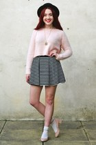 fluffy Topshop jumper - black heel new look shoes - boater asos hat