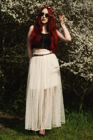 net skirt - sunglasses - braided belt - bralet top