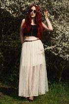 net skirt - sunglasses - braided belt - bralet top
