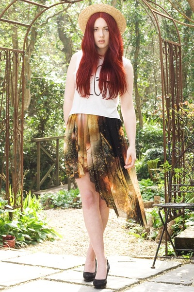 galaxy skirt - boater hat - shirt - wedges