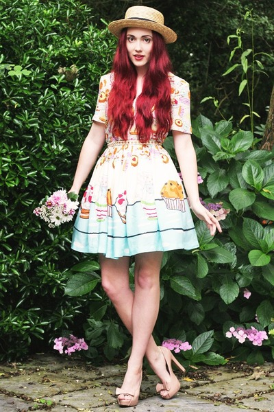 boater next hat - tea party print asos dress - spiked Zara belt