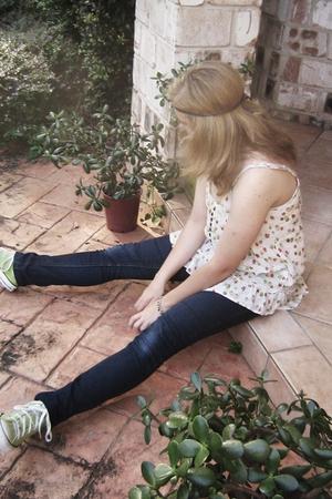Converse shoes - Valley Girl jeans - Valley Girl top - op shop bracelet - handma
